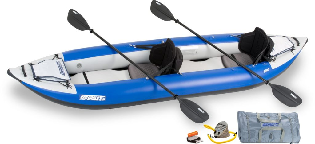 Sea Eagle 380x Explorer inflatable sit on top tandem kayak for whitewater kayaking